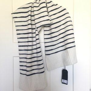 NEW Rag & Bone Ivory & Navy Stripe Wool Sam Scarf
